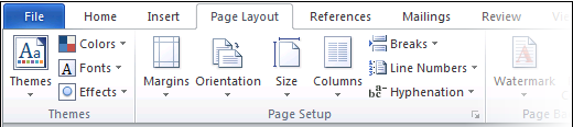 Word 2010 Page Layout tab