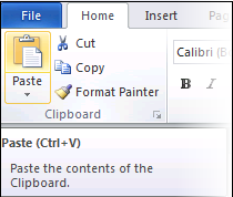 The Paste control in Word 2010