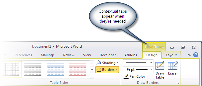 Table Tools contextual tab in Word 2010