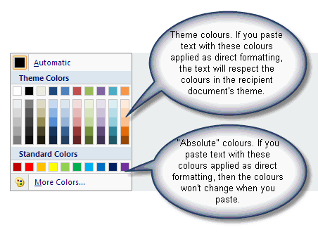"The dialog used to apply colours to text distinguishes between Theme colours and ""absolute"" colours"