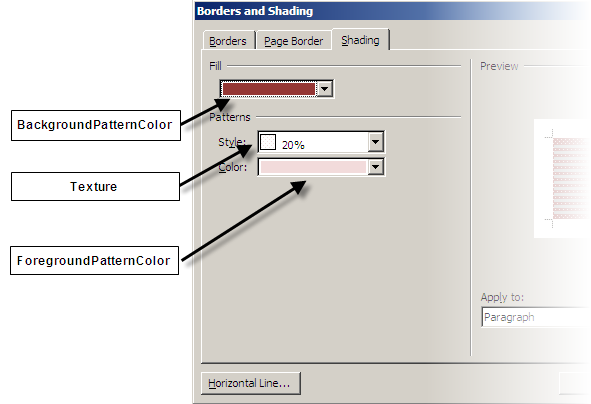 Word Borders and Shading dialog