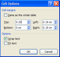 Dialog box to set cell margins in a table cell