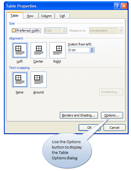 Table Properties dialog box