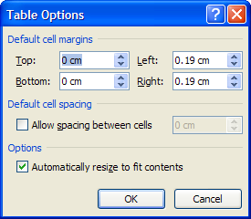 Dialog box to set cell margins in a table