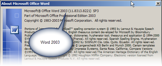 Word 2003 and before: The Help > About box tells you what version of Word you have