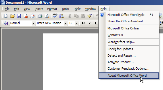 Word 2003 and before: click Help, then click About