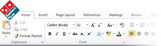 A ausgetrickst up gefälschte Screenshot angeblich Microsoft Word sein, zeigt eine Dominos Pizza logo anstelle der Word 2010 Schaltfläche Datei