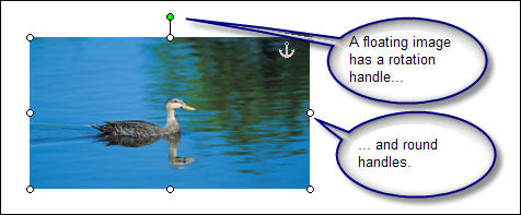 In Word 2003 and earlier versions, you can detect a floating image by (a) the rotation handle and (b) the round handles.