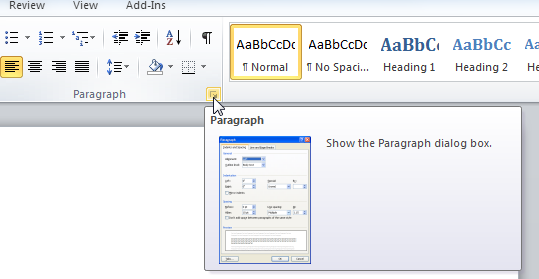 Dialog launcher in the Paragraph group of the Home tab of Word 2010