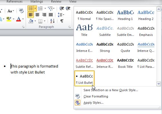 Die Schaltfläche Einzug vergrößern auf das Wort Registerkarte Start
