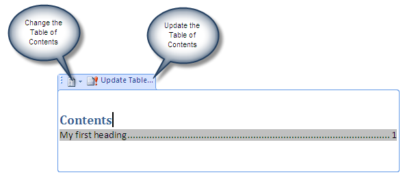 A table of contents in an content control